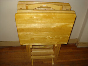 5-piece Set Folding / Wooden Tv Tray / Table