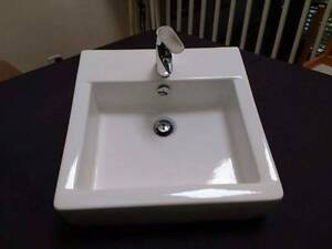 REECE SQUARE WHITE VANITY BASIN WITH MIXER TAP Cammeray North Sydney Area Preview