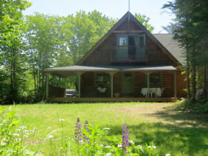 Log Home & Guest Cottage on Lake, 11 acres, in Nova Scotia