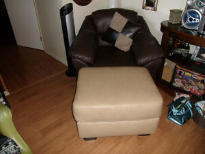 Large Brown Leather Chair and Ottoman $75.00 OBO