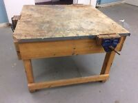 Handmade heavy duty wooden workbench with 3 record no52 vices