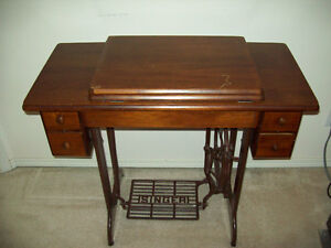 Singer treadle sewing machine and stool