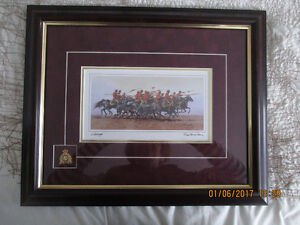 """CHARGED"" BURGUNDY FRAMED ART CARD SIGNED BY BILL MCMILLAN"