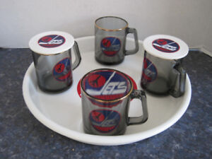 Old Time True Vintage Winnipeg Jets Cups, Tray and Coaster Set