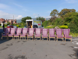 39. As new purple high wingback chairs