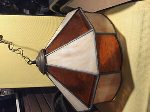 Stained glass hanging light.