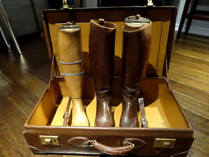 1920s English RIDING BOOTS + FORMS + LEATHER SUITCASE equestrian