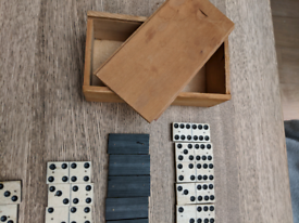 Vintage Dominos and cribbage board.