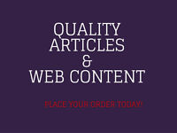 Quality articles and web content writing help