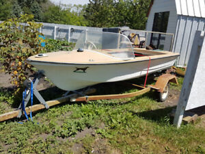 14 FOOT FIBREGLASS BOAT AND TRAILER with 35 HP CHRYSLER OUTBOARD