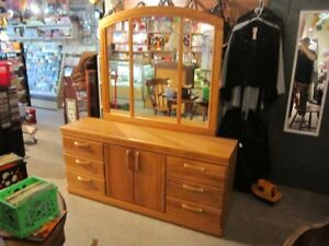 Spacious 6 Drawer Dresser With Matching Mirror For Sale