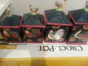 rooster canisters set of four