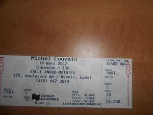 Michel Louvain 2 billets (10 ème rangée)