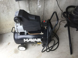 Max air 15 gallon compressor with tools and accessories.