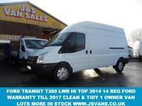 2014 14 FORD TRANSIT 350 LWB HITOP T350 3500 KG TONNER 2014/14 REG 1 LEASE OWNER