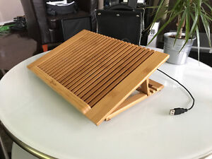 Bamboo Laptop Stand with USB fan