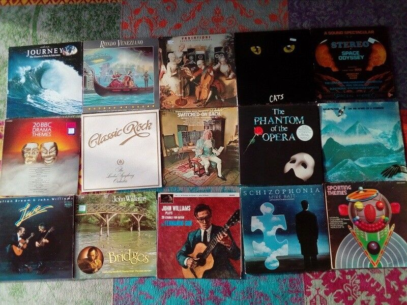 15 Classical Vinyl Album Gemsin Melrose, Scottish Borders - A popular classical selection with a bit of everything Sporting Themes Grandstand Match of the day Cricket & more Drama Themes Blakes 7 Poldark Shoestring & More 3 Double Albums Cats Phantom (with book) Julian & John Williams live Ads music Hovis...