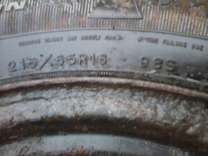 2 tires with rims Nortic 215/60R16 used with a few seasons left London Ontario image 3