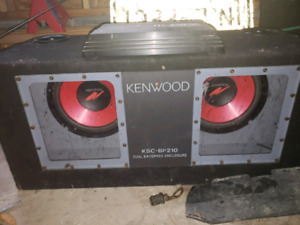 """URGENT 2, 10"""" kenwood subwoofers with 251 watt amp in ported box"""