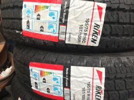 A pair of 195/75/16 commercial tyres