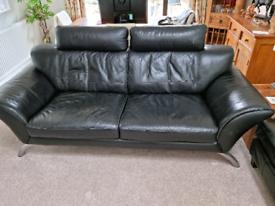 Black Leather Sofa - Now Free