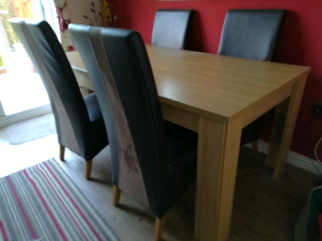 Superb Dining Table And 4 Leather Chairs In Llansamlet Swansea Gumtree Machost Co Dining Chair Design Ideas Machostcouk