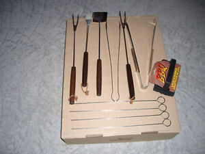 5 BBQ Tools, 4 Skewers and New Grill Scrubber Brush
