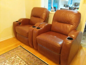 2 HOME THEATER RECLINING CHAIRS - PRACTICALLY NEW