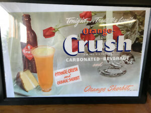 VINTAGE ORANGE CRUSH ORANGE SHERBET FRAMED PRINTED ADVERTISEMENT