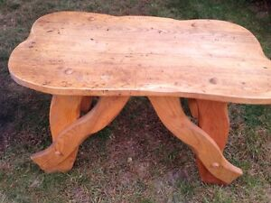 Homemade carved wood table