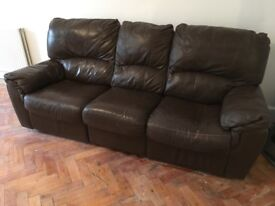Reclining brown leather sofas