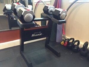 Slide and lock adjustable weights with stand.