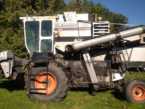 Gleaner F2 Allis Chalmers Combine with Corn and Soybean Heads