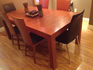 Modern Dining room table and chairs.