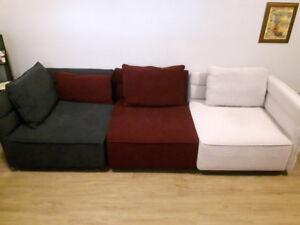 Modulaire 3 pieces MAISON CORBEIL Sectional 3 piece couch
