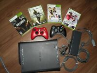 Xbox 360 with 4 games & 2 wireless controller