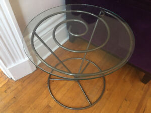 Glass and metal coil design side coffee table