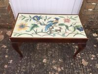 Lovely coffee table with embroidered inlay and glass top