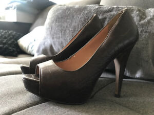 Brown leather peep toe heels from Mango. Size 8.5