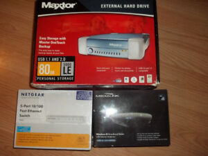 External Hard Drive, Ethernet Switch, Router