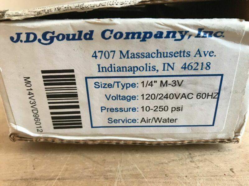 """JD GOULD CO SOLENOID VALVE M-3V AIR & WATER 1/4"""" 10-250psi"""
