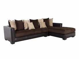Large brown corner suite/sofa with scatter cushions in cookstown area