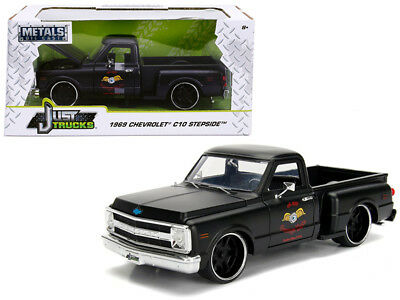 Used, 1969 Chevy C-10 Stepside Pickup Truck Diecast 1:24 Jada Toys 8 inch Matte Black for sale  Indio