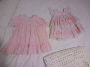 2 18 month girls pink & white lace dresses