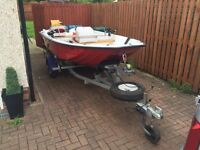 13ft dory with trailer and Yamaha 2.5hp 4 stroke outboard