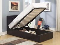 """Brand New --Single Ottoman Storage Leather Bed --9"""" Quilted Mattress -- Same Day Free Delivery"""