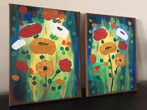 Handmade abstract flowers painting