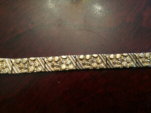 6 inch  SOLID and HEAVY 10K Yellow Gold Nuggets Bracelet