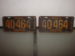 pair of 1940 Nova Scotia license plates