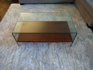 STRUCTUBE COFFEE TABLE - GLASS with WOOD SHELF